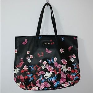 BEBE butterfly and flower print tote